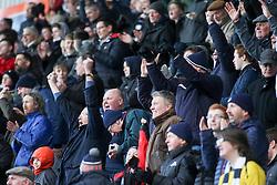 Fans at the The Falkirk Stadium for the Alloa game. Falkirk 2 v 0 Alloa Athletic, Scottish Championship game played 5/3/2016 at The Falkirk Stadium.