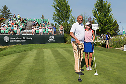 July 15, 2018 - Stateline, Nevada, U.S - CHARLES BARKLEY and KATHRYN TAPPEN pose for a quick photo before their Sunday morning tee time at the 29th annual American Century Championship at the Edgewood Tahoe Golf Course at Lake Tahoe, Stateline, Nevada, on July 15, 2018. (Credit Image: © Tracy Barbutes via ZUMA Wire)