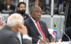 June 28, 2019 - Osaka, Japan - June 28, 2019. - Japan, Osaka. - South Africa's President Cyril Ramaphosa attends a BRICS meeting on the sidelines of the 2019 G20 Summit at the INTEX Osaka International Exhibition Centre. (Credit Image: © Russian Look via ZUMA Wire)