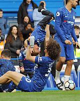 Football - 2018 / 2019 Premier League - Chelsea vs. Watford<br /> <br /> Chelsea's David Luiz picks up Eden Hazard's boy, at Stamford Bridge.<br /> <br /> COLORSPORT/ANDREW COWIE