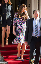 © London News Pictures. 02/03/2015. London, UK. Catherine Duchess of Cambridge leaving The Goring Hotel in Victoria, London on March 2, 2015. The Duchess has visited The Goring hotel in the past to attend board meetings for the 1851 trust and also stayed there before her wedding.  Photo credit: Ben Cawthra/LNP
