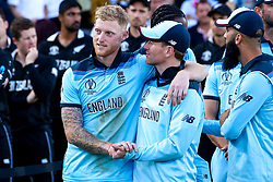 Ben Stokes of England and Eoin Morgan of England celebrate winning the ICC Cricket World Cup - Mandatory by-line: Robbie Stephenson/JMP - 14/07/2019 - CRICKET - Lords - London, England - England v New Zealand - ICC Cricket World Cup 2019 - Final