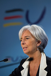 Christine Lagarde, France's finance minister, speaks, during a joint press conference with Wolfgang Schaeuble, Germany's finance minister, following the first meeting of the Van Rompuy task force on economic governance, in Brussels, Belgium, on Friday, May 21, 2010. (Photo © Jock Fistick)