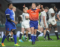 Rugby Union - 2021 Guinness Six Nations - Round Four - England vs France - Twickenham<br /> <br /> Referee, Andrew Brace asks for video replay of Maro Itoje's winning try<br /> <br /> <br /> Credit : COLORSPORT/ANDREW COWIE