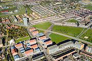 Nederland, Utrecht, Leidsche Rijn, 01-04-2016; Parkwijk, Prinses Amaliapark met Busbaan Parkwijk, kruising met Groenedijk.<br /> Princess Amalia Park with bus lane.<br /> <br /> luchtfoto (toeslag op standard tarieven);<br /> aerial photo (additional fee required);<br /> copyright foto/photo Siebe Swart
