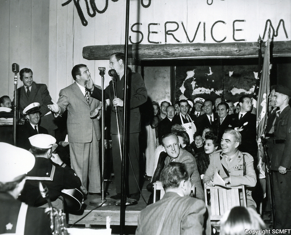 10/3/42 Abbot & Costello perform during the grand opening ceremony of the Hollywood Canteen