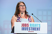 Sarah Broad speaking at the TUC congress 2016, Brighton. UK.