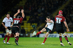 Munster Fly-Half (#10) Ronan O'Gara kicks to clear his lines during the second half of the match - Photo mandatory by-line: Rogan Thomson/JMP - Tel: Mobile: 07966 386802 16/12/2012 - SPORT - RUGBY - Vicarage Road - Watford. Saracens v Munster Rugby - Heineken Cup Round 4.