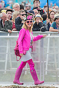 All in pink awaiting Damon Albarn as he  introduces and plays with the Orchestra of Syrian Musicians on the Pyramid Stage - The 2016 Glastonbury Festival, Worthy Farm, Glastonbury.