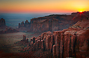 Sunrise at the far end of Hunt's Mesa above Monument Valley, Arizona