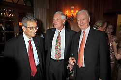 Left to right, PROF.AMARTYA SEN, TED TURNER and SIR JAMES MIRRLEES Nobel Prze winning economist at the 3rd Fortune Forum Summit held at The Dorchester Hotel, Park Lane, London on 3rd March 2009.