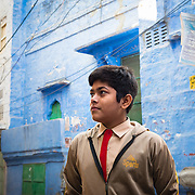 Portrait of boy in blue city of Jodhpur