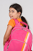 Young girl of 9 ready for school