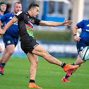 DUBLIN, IRELAND:  October 9:   Jacopo Trulla #15 of Zebre kicks down field during the Leinster V Zebre, United Rugby Championship match at RDS Arena on October 9th, 2021 in Dublin, Ireland. (Photo by Tim Clayton/Corbis via Getty Images)
