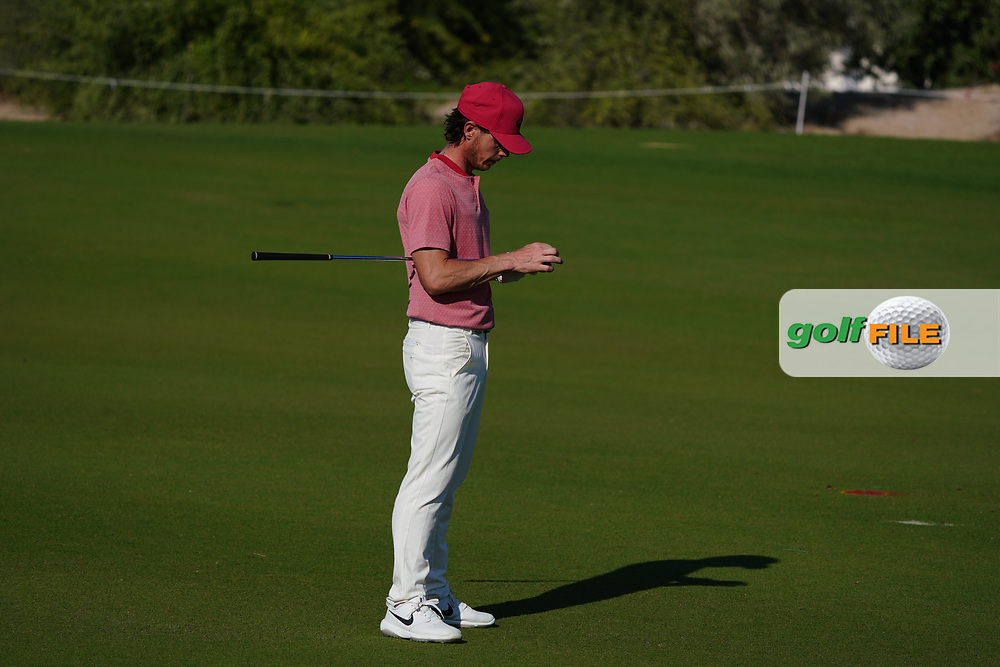 Kristoffer Broberg (SWE) on the 16th during Round 1 of the Commercial Bank Qatar Masters 2020 at the Education City Golf Club, Doha, Qatar . 05/03/2020<br /> Picture: Golffile   Thos Caffrey<br /> <br /> <br /> All photo usage must carry mandatory copyright credit (© Golffile   Thos Caffrey)