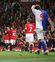 Photo: Steve Bond/Richard Lane Photography. Manchester United v Blackburn Rovers. Barclays Premiership 2009/10. 31/10/2009. Wayne Rooney (L) celebrates