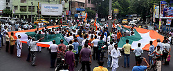 August 15, 2017 - Kolkata, West Bengal, India - Akhil Bharatiya Vidyrathi Parishad supporters and activists rally with 360 ft Indian Flag on the occasion of 71th Independence day in Kolkata on 15th August 2017. (Credit Image: © Sandip Saha/Pacific Press via ZUMA Wire)