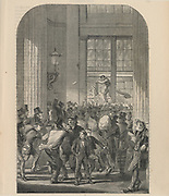 'Scene at the General Post Office, St Martin's le Grand, London as it would have been in 1860 in the rush to get commercial letters in the last post of the day for the country.'