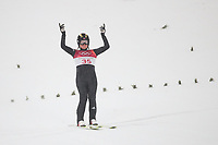 PYEONGCHANG,SOUTH KOREA,12.FEB.18 - OLYMPICS, NORDIC SKIING, SKI JUMPING - Olympic Winter Games PyeongChang 2018, normal hill, women. Image shows the rejoicing of Maren Lundby (NOR). <br /> Norway only