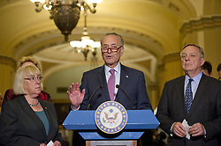 June 27, 2017 - Washington, District of Columbia, United States of America - United States Senate Minority Leader Chuck Schumer (Democrat of New York) speaks to reporters following the Democratic Party luncheon in the United States Capitol in Washington, DC on Tuesday, June 27, 2017.  From left to right: US Senator Patty Murray (Democrat of Washington), Leader Schumer, and US Senate Minority Whip Dick Durbin (Democrat of Illinois)..Credit: Ron Sachs / CNP (Credit Image: © Ron Sachs/CNP via ZUMA Wire)
