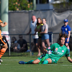 BRISBANE, AUSTRALIA - DECEMBER 4: Katrina Gorry of the Roar scores a goal during the round 5 Westfield W-League match between the Brisbane Roar and Melbourne City at AJ Kelly Field on December 4, 2016 in Brisbane, Australia. (Photo by Patrick Kearney/Brisbane Roar)