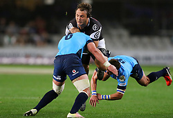 Andre Esterhuizen of the Sharks caught in a tackle during the Currie Cup match between the The Sharks and The Blue Bulls held at King's Park, Durban, South Africa on the 27th August 2016<br /> <br /> Photo by:   Anesh Debiky / Real Time Images