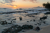 Sunset in Seychelles with Waves