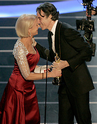 Feb. 24, 2008 - Actor Daniel Day-Lewis receives the Oscar for Best Actor for ''There Will Be Blood'' from actress Helen Mirren during the 80th annual Academy Awards at the Kodak Theatre in Hollywood, California, Sunday, February 24, 2008. (Mindy Schauer/Orange County Register/MCT) (Credit Image: © Mindy Schauer/MCT/ZUMAPRESS.com)