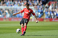 Cardiff city's Peter Whittingham in action. Barclays Premier league match, Cardiff city  v Stoke city at the Cardiff city stadium in Cardiff, South Wales on Saturday 19th April 2014. pic by Andrew Orchard, Andrew Orchard sports photography,