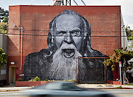 """Street art in Los Angeles..L.A. has become the new ground zero for avant-guard and cutting edge street and graffiti. Artist from around the world now come to L.A. to post their work..A street art piece by French street artist and TED prize winner, JR, on the side of a building located in the Silver Lake area of L.A..This mural is part of JR's """"The Wrinkles of the City"""" project."""
