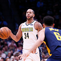 03 April 2018: Denver Nuggets guard Devin Harris (34) brings the ball up court during the Denver Nuggets 107-104 victory over the Indiana Pacers, at the Pepsi Center, Denver, Colorado, USA.