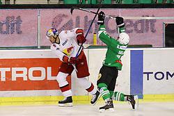 Matthias Trattnig of RBS vs Maks Selan of Olimpija during ice hockey match between HDD Olimpija Ljubljana and EC Red Bull Salzburg in Erstebank league season 2016/17, on October 30, 2016 in Hala Tivoli, Ljubljana, Slovenia. Photo by Morgan Kristan / Sportida