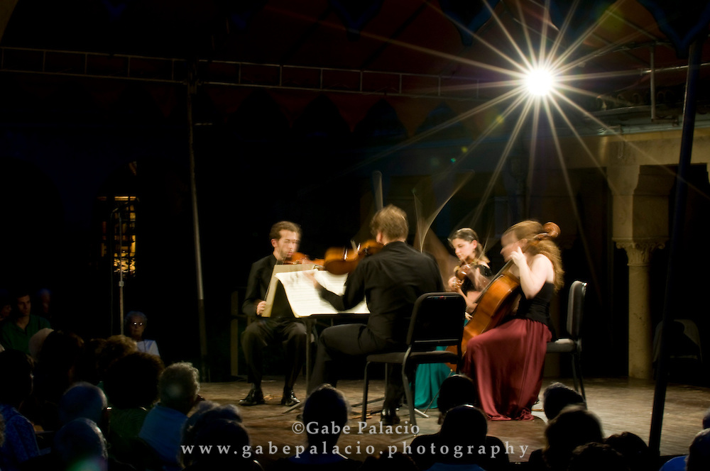 The Ariel String Quartet, the 2008-09 Ernst Stiefel String Quartet-in-Residence, performing in the Spanish Courtyard at Caramoor in Katonah New York..(photo by Gabe Palacio)