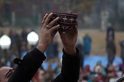 November 21, 2018 - Srinagar, Jammu and Kashmir, India - A man raises his skull cap in prayers at the shrine as Kashmiri Muslim worshippers take part in the celebrations for Mawlid al-Nabi, the birth anniversary of Muslims' beloved Prophet Mohammad, at the Hazratbal shrine in Srinagar, the summer capital of Indian controlled Kashmir, on November 21,2018. (Credit Image: © Faisal Khan/ZUMA Wire)