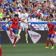 Morgan Brian, U.S. Women's National Team and So-Yun Ji, Korean Republic, challenge for the ball during the U.S. Women's National Team Vs Korean Republic, International Soccer Friendly in preparation for the FIFA Women's World Cup Canada 2015. Red Bull Arena, Harrison, New Jersey. USA. 30th May 2015. Photo Tim Clayton