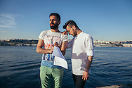 Rehearsing his lines for his video message and campaign for Mr Gay World 2016, Hussein (R)  seeks support from close friend Wissam (L)