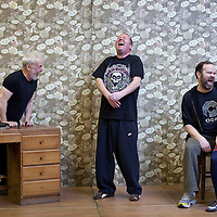 """Picture shows : Jimmy Chisolm as Simon, Paul Riley as Fran, Greg Hemphill  as  Finlay and  Ros Sydney as Morag..Rehearsal of the forthcoming National Theatre of Scotland production 'An Appointment with The Wicker Man'..Picture © Drew Farrell  ( Tel : 07721-735041 ).On a remote Scottish island, the Loch Parry Theatre Players mount their am-dram version of The Wicker Man. When their lead actor goes missing in mysterious circumstances, they call on the services of a television cop from the mainland to step in and save their production. ..The play opens at the MacRobert Arts Centre, Stirling on 18th February 2012 before touring Aberdeen, Glasgow, Inverness and Dunfermline...The Wicker Man regularly tops """"Best Horror Film of All Time"""" lists and is regarded as a true film classic. With an unforgettable sense of creeping dread, a wonderfully memorable score by Paul Giovanni, career defining performances from Edward Woodward and Christopher Lee it also has arguably the best ending in cinema history. Now, in an affectionate new adaptation, the National Theatre of Scotland gives a gallus round of applause to this immortal chronicle of strange goings-on in a wee village. ..An Appointment with the Wicker Man features Greg Hemphill (Chewin' the Fat) and Johnny McKnight (Little Johnny's Big Gay Wedding) alongside a line-up of comic talent. It is at once a deliciously wicked homage to, and a tender celebration of, a piece of cinema history that reveals for us the spooky undercurrents lurking just below the surface of Scottish village life. ..The Loch Parry Players are messing with forces they can't possibly comprehend but at the end of the night, only one thing is for sure . . . someone's going to burn for this...Cast..Sean Biggerstaff    as       Howie and Rory.Jimmy Chisolm      as       Simon.Greg Hemphill        as     Finlay.Johnny McKnight   as      Callum.Sally Reid                 as      Marie.Paul Riley.         as      Fran.Ros Sydney"""