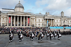 © licensed to London News Pictures. London, UK 20/10/2013. 500 Sea, Air and Army Cadets march and perform in Trafalgar Square for the 2013 Trafalgar Day Parade in London. The Royal Navy's annual event, Trafalgar Day marks Lord Nelson's victory at the Battle of Trafalgar. Photo credit: Vickie Flores/LNP