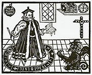 'Mephistopheles appearing to Doctor Faustus, from a 1631 edition of ''Tragical Historie of D. Faust'' the play by Christopher Marlowe in which Faust sells his soul to the Devil in exchange for knowledge and power.'