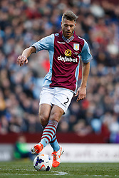 Aston Villa Defender Nathan Baker (ENG) in action - Photo mandatory by-line: Rogan Thomson/JMP - 07966 386802 - 23/03/2014 - SPORT - FOOTBALL - Villa Park, Birmingham - Aston Villa v Stoke City - Barclays Premier League.