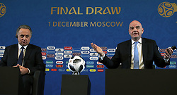 Vitaly Mutko, president of the Russian Football Union (left) and FIFA President Gianni Infantino during a press conference ahead of the FIFA 2018 World Cup draw at The Kremlin, Moscow. PRESS ASSOCIATION Photo Picture date: Friday December 1, 2017. See PA story SOCCER World Cup. Photo credit should read: Nick Potts/PA Wire. RESTICTIONS: Editorial use only. No transmission of sound or moving images. No use with any unofficial third party logos. No altering or adjusting of photographs.