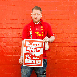 Anfield, Liverpool, UK. 15th April, 2014. Lee, from Grimsby, has always wanted to attend the Hillsborough Service.