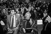"""ROME, ITALY - 5 FEBRUARY 2013: Candidate for Governor of the Lazio Regionand leader of the centre-right coalition Francesco Storace, 53, presents his government program at the Temple of Hadrian in Rome, Italy, on February 5, 2013.<br /> <br /> The Regional Elections in Lazio take place the same day of the Italian General Elections, on February 24-25, after former governor Renata Polverini resigned in September after an expenses scandal.<br /> <br /> A general election to determine the 630 members of the Chamber of Deputies and the 315 elective members of the Senate, the two houses of the Italian parliament, will take place on 24–25 February 2013. The main candidates running for Prime Minister are Pierluigi Bersani (leader of the centre-left coalition """"Italy. Common Good""""), former PM Mario Monti (leader of the centrist coalition """"With Monti for Italy"""") and former PM Silvio Berlusconi (leader of the centre-right coalition).<br /> <br /> ###<br /> <br /> ROMA, ITALIA - 5 FEBBRAIO 2013: Il candidato alla Presidenza della Regione e Lazio e leader della coalizione di centro-destra Francesco Storace, 53 anni, presenta il suo programma di governo al Tempio di Adriano a Roma il 5 febbraio 2013.<br /> Le elezioni regionali del Lazio si svolgeranno il 24 e 25 febbraio 2013, lo stesso giorno delle elezioni politiche, dopo che la governatrice Renata Polverini ha rassegnato le dimissioni nel mese di settembre 2012 dopo lo scandalo delle spese pazze alla Regione.<br /> <br /> Le elezioni politiche italiane del 2013 per il rinnovo dei due rami del Parlamento italiano – la Camera dei deputati e il Senato della Repubblica – si terranno domenica 24 e lunedì 25 febbraio 2013 a seguito dello scioglimento anticipato delle Camere avvenuto il 22 dicembre 2012, quattro mesi prima della conclusione naturale della XVI Legislatura. I principali candidate per la Presidenza del Consiglio sono Pierluigi Bersani (leader della coalizione di centro-sinistra """"Italia. Bene Comune""""), il premier uscente"""