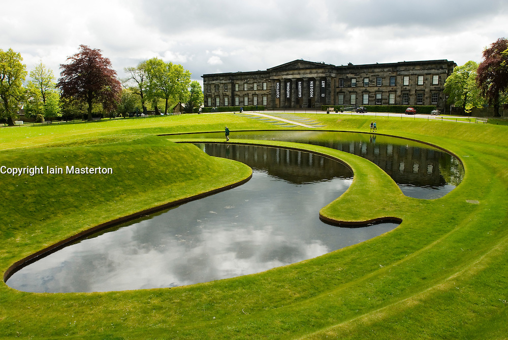 Landscaped garden and ponds at National Modern Art Gallery of Scotland in Edinburgh