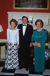 Left to Right:, Mrs NANCY REAGAN, Wife of President Ronald Reagan, RONALD REAGAN, President of the USA and Rt Hon MARGARET THATCHER MP, Conservative MP for Finchley and Prime Minister, Attending a dinner at 10 Downing Street, London, 13.06.1989. EXPA Pictures © 2016, PhotoCredit: EXPA/ Photoshot/ © uppa.co.uk<br /> <br /> *****ATTENTION - for AUT, SLO, CRO, SRB, BIH, MAZ, SUI only*****