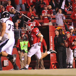 Sep 19, 2009; Piscataway, NJ, USA; Rutgers linebacker Ryan D'Imperio (44) returns an interception for a touchdown during the second half of Rutgers' 23-15 victory over Florida International at Rutgers Stadium.