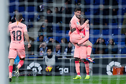December 8, 2018 - Barcelona, BARCELONA, Spain - 11 Ousmane Dembele of FC Barcelona celebrating his goal with 10 Leo Messi of FC Barcelona during the Spanish championship La Liga football match between RCD Espanyol v FC Barcelona on December 08, 2018 at RCD Stadium stadium in Barcelona, Spain. (Credit Image: © AFP7 via ZUMA Wire)