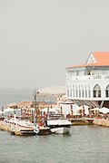 A yacht moored at a members club on the Corniche in Beirut, Lebanon