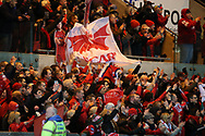 Scarlets fans celebrate at the end of the match after Scarlets win the match. EPCR European Champions cup match, Scarlets v RC Toulon at the Parc y Scarlets in Llanelli, West Wales on Saturday 20th January 2018. <br /> pic by  Andrew Orchard, Andrew Orchard sports photography.
