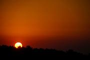 Beautiful orange and red Sunset over Crete, Greece